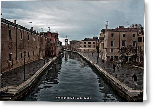 Uros Zunic Greeting Cards - Venice canals Greeting Card by Uros Zunic
