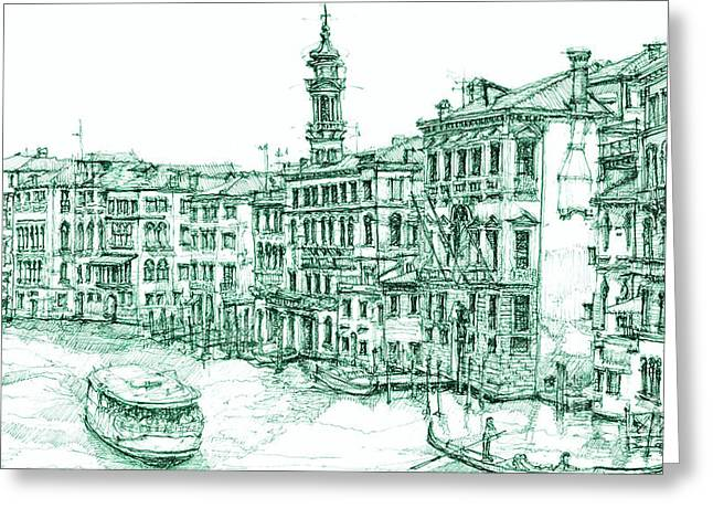 Olive Greeting Cards - Venice drawing in green Greeting Card by Building  Art