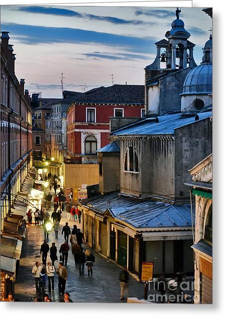 Romantico Greeting Cards - Venice from Ponte di Rialto Greeting Card by Carlos Alkmin