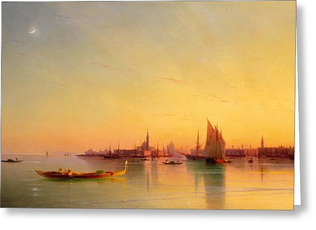Docked Sailboats Greeting Cards - Venice from the Lagoon at Sunset Greeting Card by Ivan Konstantinovich Aivazovsky