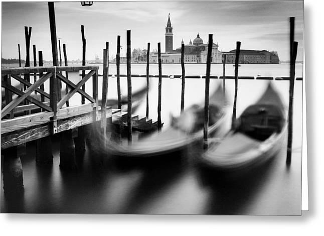 Latern Greeting Cards - Venice Gondolas Greeting Card by Nina Papiorek