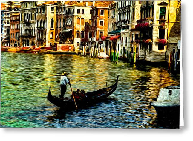 Busybee Greeting Cards - Venice Gondolas Greeting Card by Sabine Jacobs