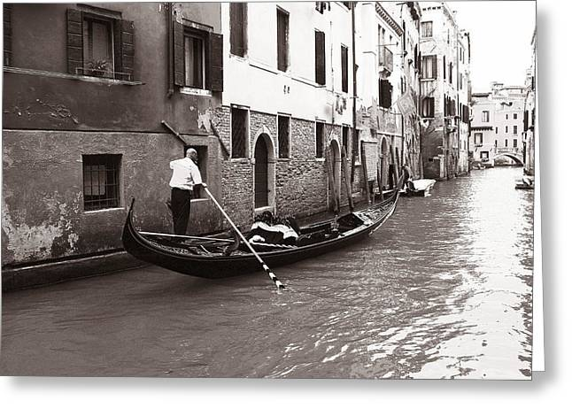 Gondolier Greeting Cards - Venice Gondolier Greeting Card by Andrew Fare