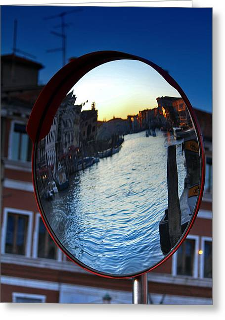 Venice Grand Canal Mirrored Greeting Card by Cedric Darrigrand