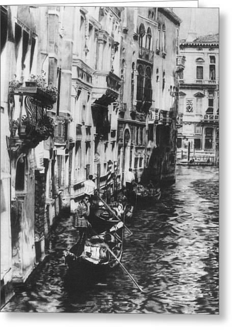 Venice In Black And White Greeting Card by Nancy Slater