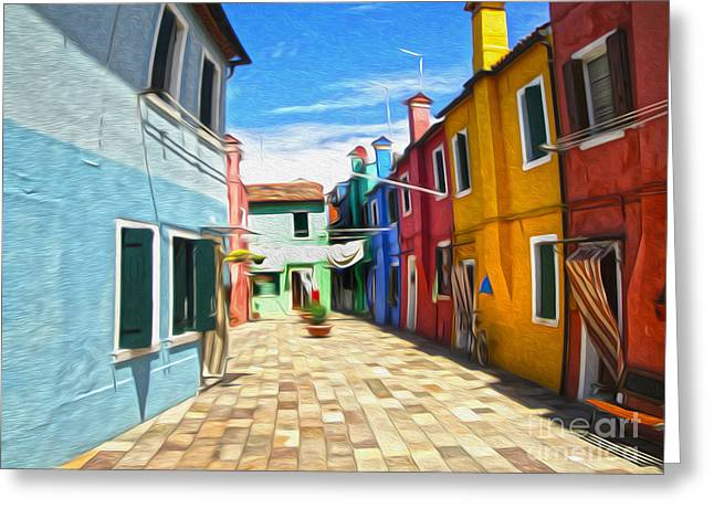 Venice Italy - Burano Island Alley Greeting Card by Gregory Dyer