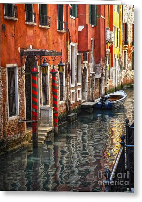 Venice Italy - Quiet Canal Greeting Card by Gregory Dyer