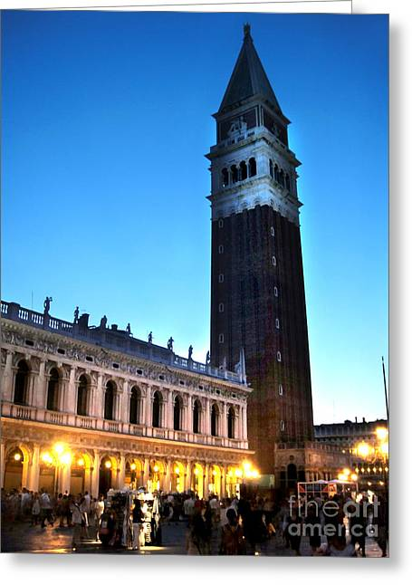 Venice Italy - Saint Marks Campanile At Night Greeting Card by Gregory Dyer