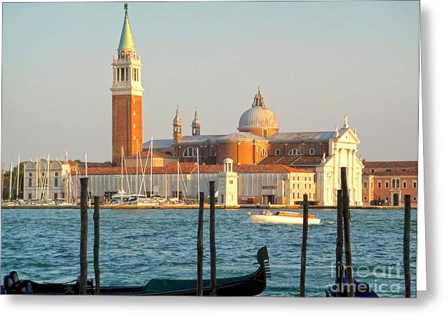 Venice Italy - San Giorgio Maggiore Island And Gondolas Greeting Card by Gregory Dyer