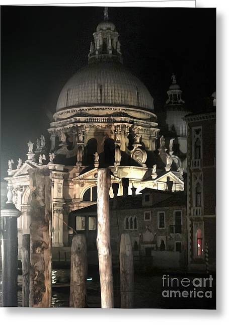 Venice Italy - Santa Maria Della  Salute At Night Greeting Card by Gregory Dyer