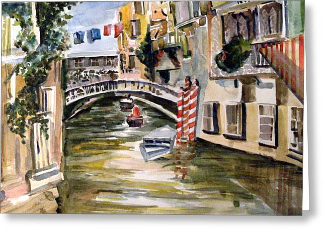 Canal Drawings Greeting Cards - Venice Italy Greeting Card by Mindy Newman