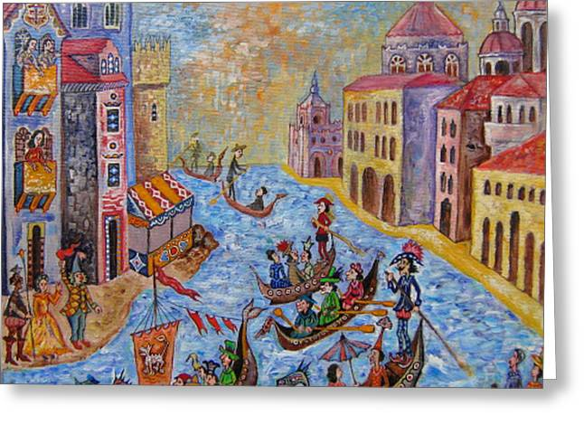 Gondolier Drawings Greeting Cards - Venice Greeting Card by Milen Litchkov