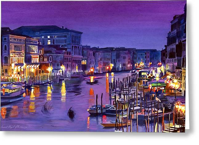 City Lights Paintings Greeting Cards - Venice Nights Greeting Card by David Lloyd Glover