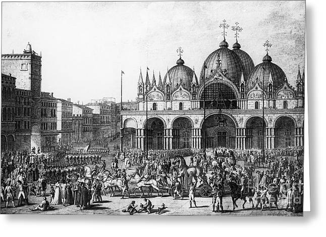 Mark I Greeting Cards - Venice: Saint Marks, 1797 Greeting Card by Granger