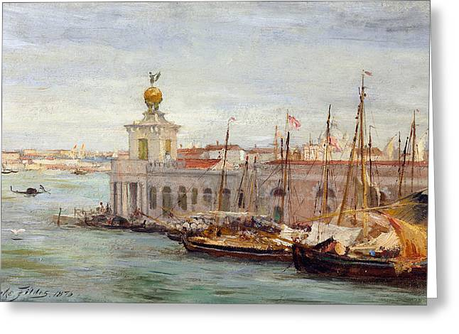 Port Town Greeting Cards - Venice Greeting Card by Sir Samuel Luke Fields