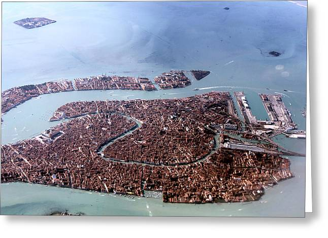 Venice Sky View Greeting Card by Cedric Darrigrand
