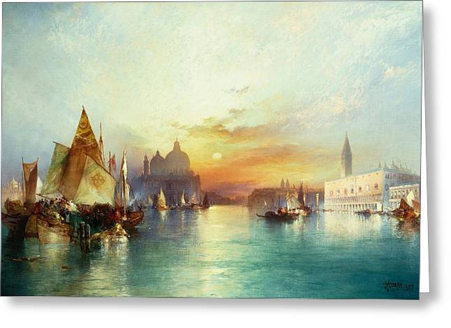 Atmospheric Greeting Cards - Venice Greeting Card by Thomas Moran