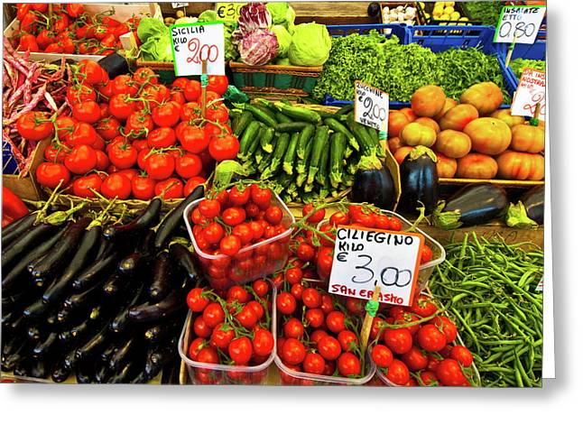 Fruit Print Greeting Cards - Venice Vegetable Market Greeting Card by Harry Spitz