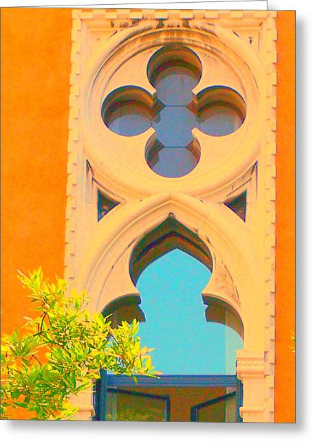 Betsy Moran Greeting Cards - Venice Window Greeting Card by Betsy Moran