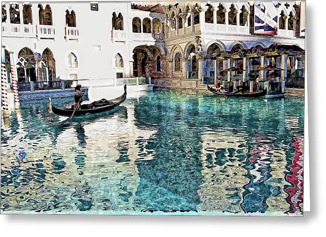 Reflecting Water Digital Art Greeting Cards - Ventian Hotel in Las Vegas  Greeting Card by Susan Stone
