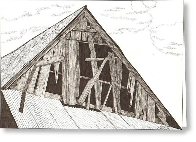 Old Barn Pen And Ink Greeting Cards - Ventilated Greeting Card by Pat Price