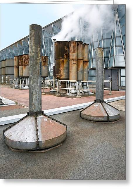 Carbon Emissions Greeting Cards - Vents At Fawley Power Station, Uk Greeting Card by Paul Rapson
