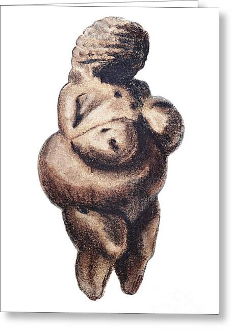 Primitive Drawings Greeting Cards - Venus - fertility symbol Greeting Card by Michal Boubin