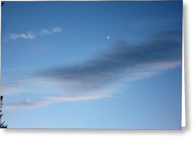 Venus And Crescent Moon Greeting Card by Kathleen Horner