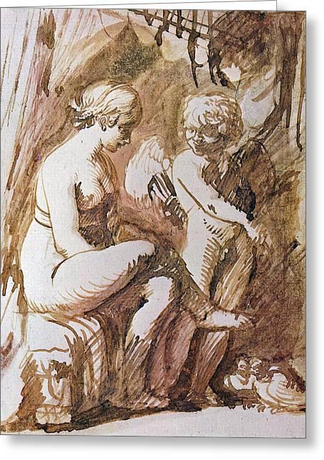 Adam Drawings Greeting Cards - Venus and Cupid Drawing Greeting Card by