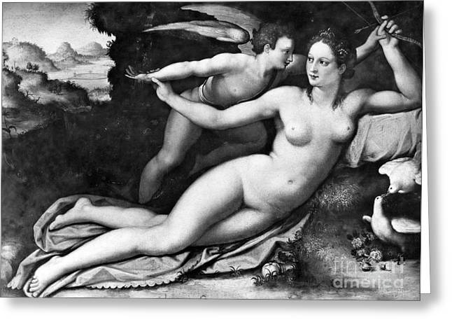 Romance Renaissance Greeting Cards - Venus And Cupid Greeting Card by Granger