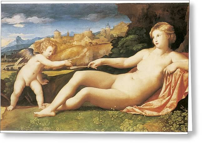 Venus And Cupid Greeting Cards - Venus and Cupid Greeting Card by Palma The Elder