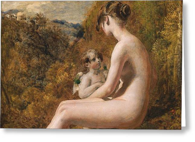 Venus and Cupid  Greeting Card by William Etty