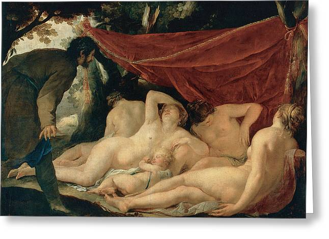 Venus And The Graces Surprised By A Mortal Greeting Card by Jacques Blanchard