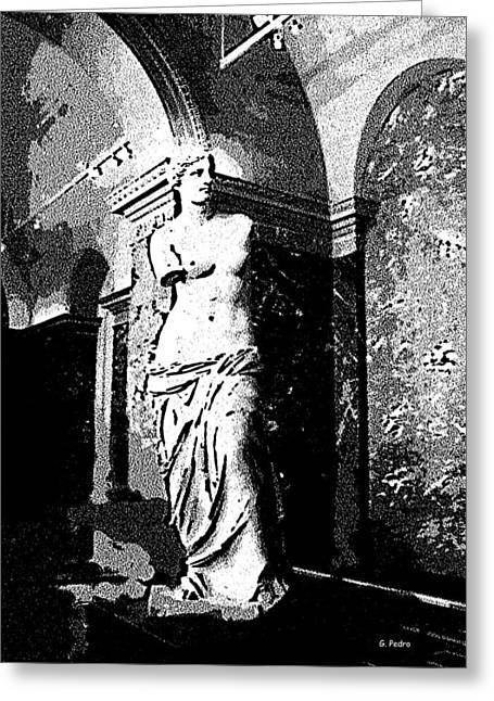 Aphrodite Of Milos Greeting Cards - Venus de Milo in Black and White Greeting Card by George Pedro