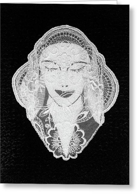 Face Tapestries - Textiles Greeting Cards - Venus Greeting Card by Marie Halter