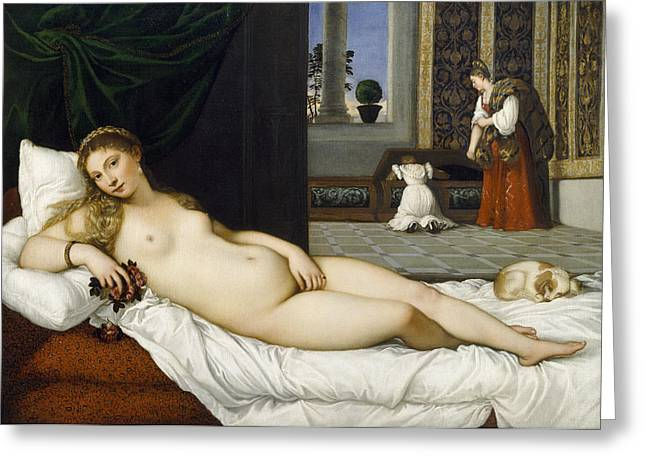 Long Bed Greeting Cards - Venus of Urbino before 1538 Greeting Card by Tiziano Vecellio