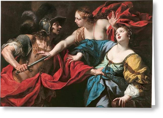 Virgil Greeting Cards - Venus preventing her son Aeneas from killing Helen of Troy Greeting Card by Luca Ferrari