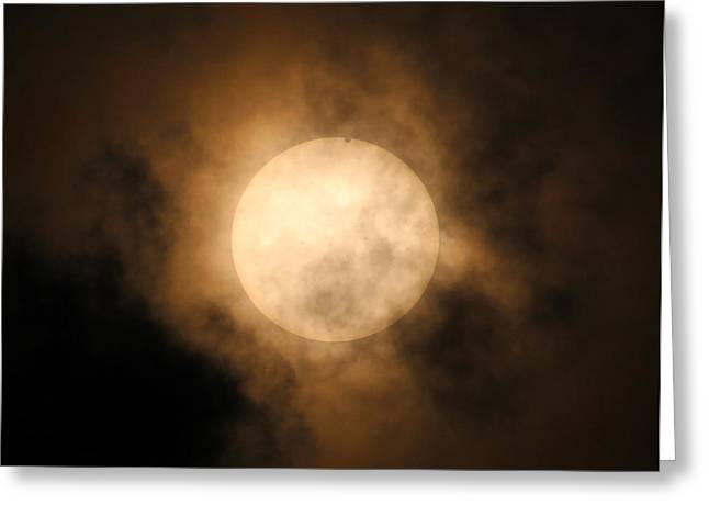 Planet Pyrography Greeting Cards - Venus touches the Sun Greeting Card by KB Kram