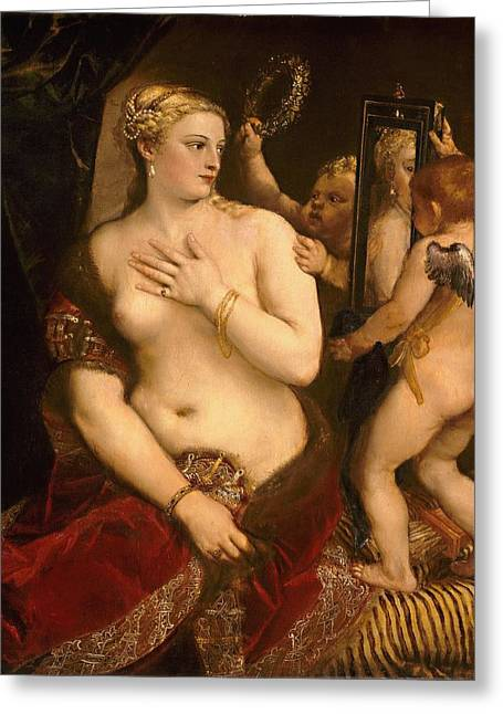 Sca Greeting Cards - Venus with a Mirror Greeting Card by Titian