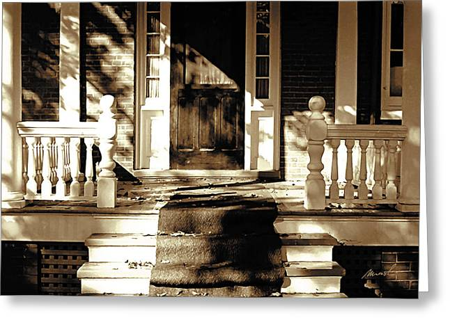 Sunlit Door Greeting Cards - Veranda Greeting Card by Jeanette Charlebois