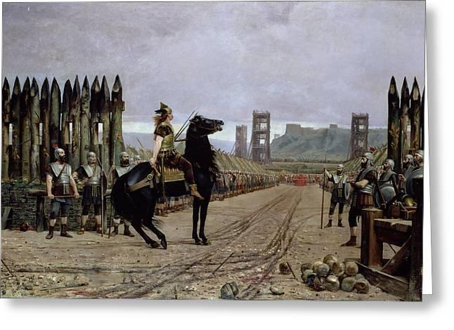Rome Greeting Cards - Vercingetorix before Caesar Greeting Card by Henri Paul Motte