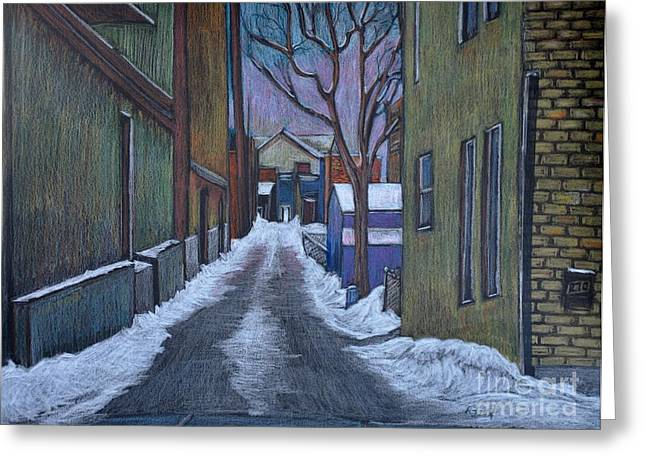 Back Alley Greeting Cards - Verdun Alley in Early Spring Greeting Card by Reb Frost