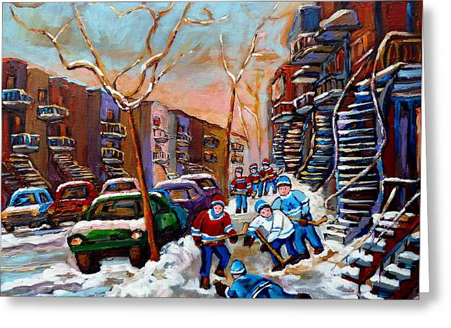 Montreal Artist Paints Verdun Street Scenes Greeting Cards - Verdun Montreal Hockey Game Near Winding Staircases and Row Houses Montreal Winter Scene Greeting Card by Carole Spandau
