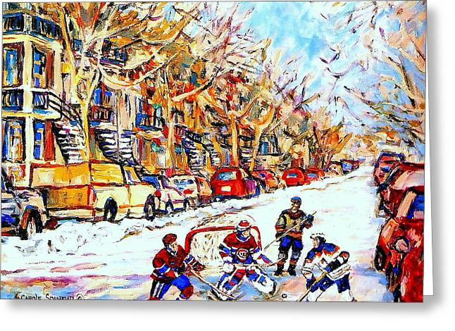 Montreal Artist Paints Verdun Street Scenes Greeting Cards - Verdun Street Hockey Game Goalie Makes The Save Classic Montreal Winter Scene Greeting Card by Carole Spandau