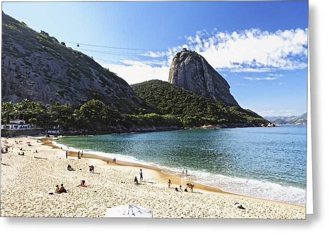 Beach Activities Greeting Cards - Vermelha Beach with Sugarloaf Greeting Card by George Oze