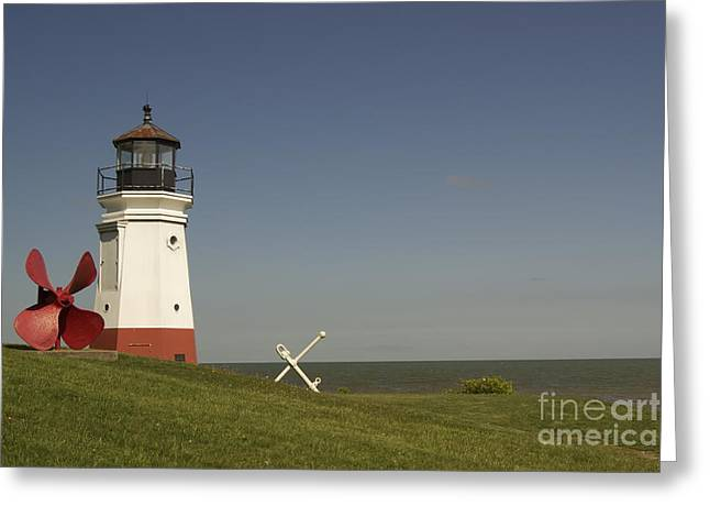 Vermilion Lighthouse - 1287 Greeting Card by Chuck Smith