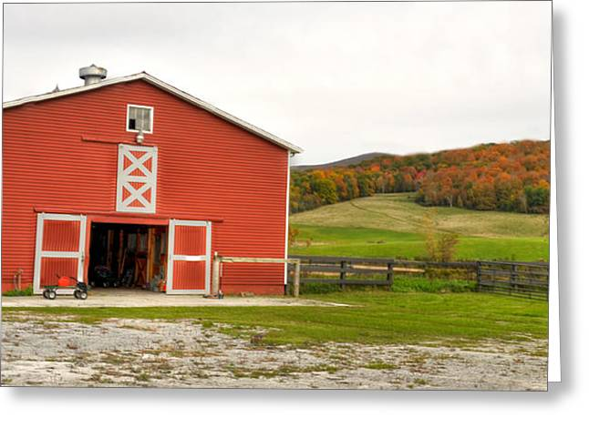 Next To Tree Greeting Cards - Vermont Barn House Greeting Card by Dennis Clark
