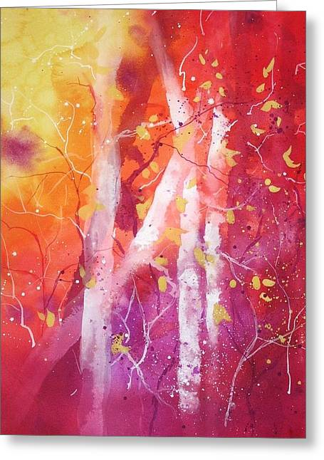 Wet Into Wet Watercolor Greeting Cards - Vermont Birches Greeting Card by Chris Blevins