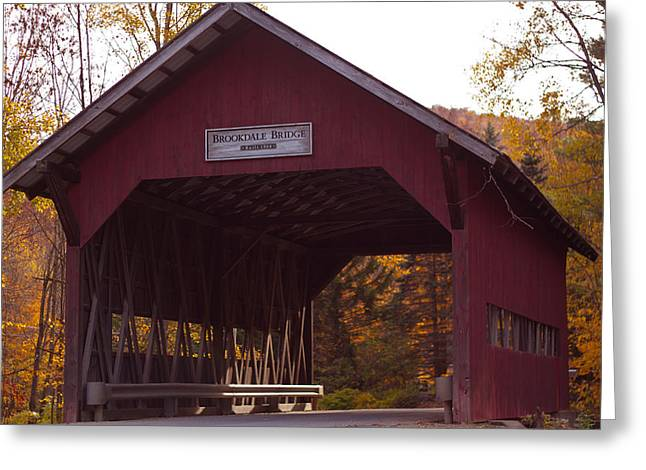 Foliage Photographs Greeting Cards - Vermont Covered Bridge Greeting Card by Robert  Torkomian