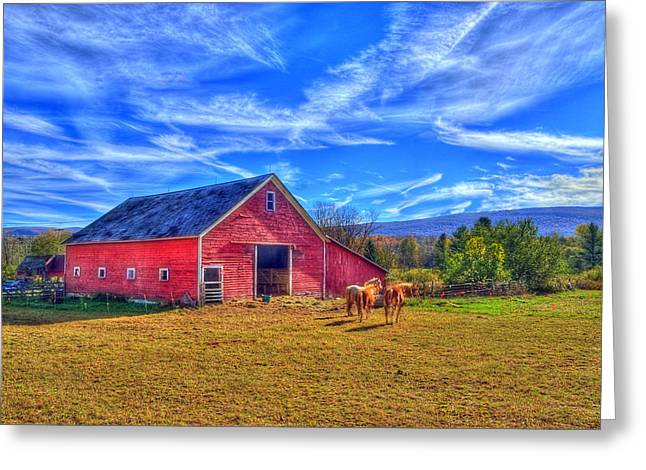 Vermont Photographs Greeting Cards - Vermont Horse Stable Greeting Card by Dennis Clark
